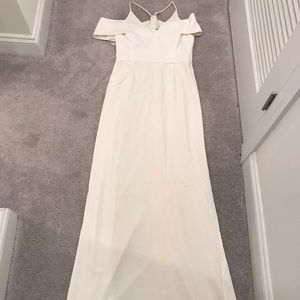 Halston Heritage ivory crepe cold shoulder gown